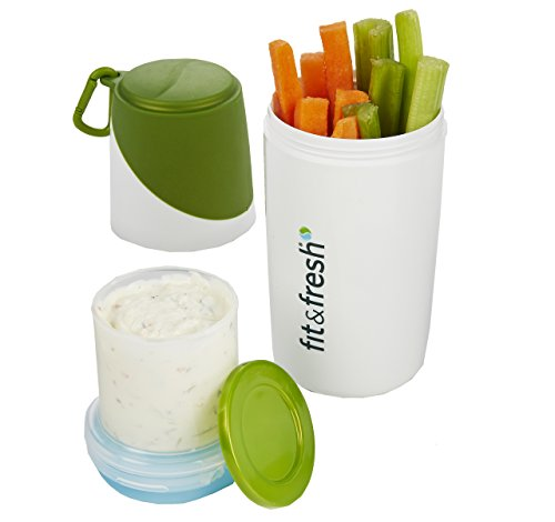 Healthy Food Snacker Chilled Food Container for Snacks (White/Green) (8