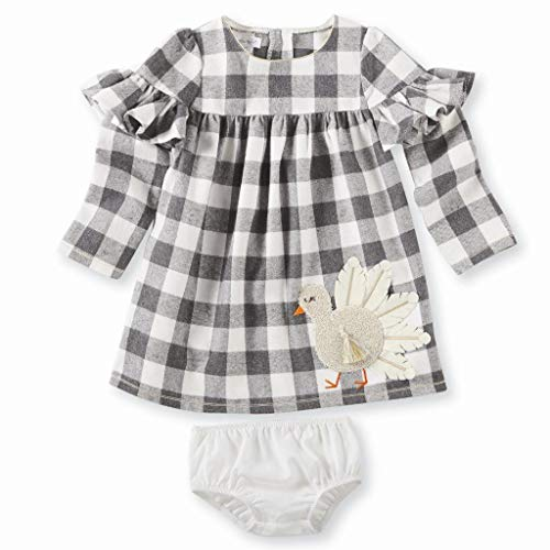 Mud Pie Baby Girls Thanksgiving Turkey Plaid Long Sleeve Casual Dress, Off/Off/White 9-12 Months