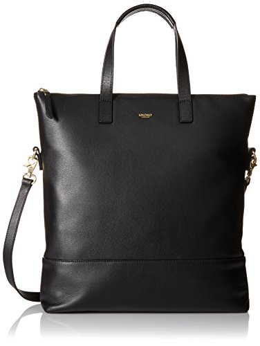 Knomo Luggage Mayfair Leather Vigo NS 14-Inch Zip Top Tote, Black, One Size by Knomo