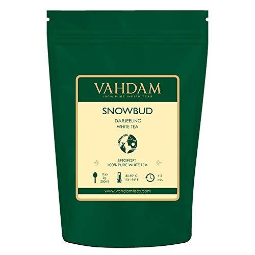 VAHDAM, Snobud, hojas de te blanco de Darjeeling (25 tazas), te blanco, hojas sueltas obtenidas directamente de estados de gran altura en el Himalaya, 50gr
