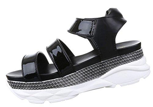 Damen Sandalen Schuhe Dianetten Plateau Damenschuhe Schwarz 36 37 38 39 40 41 Schwarz