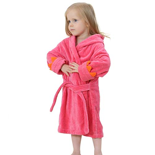 - MizHome Little Boys Girls' Plush Soft Hooded Dino Bath Robes Bathrobe Theme Party Costume Rose red M