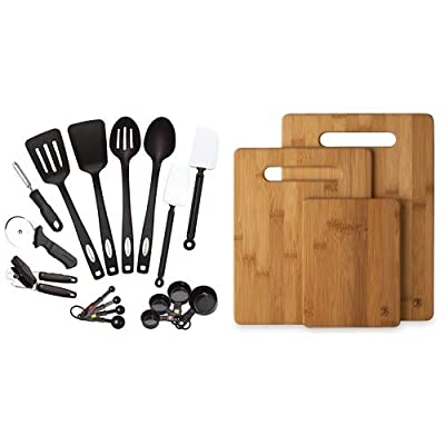 Farberware Classic 17-Piece Tool and Gadget Set and Totally Bamboo 3 Piece Bamboo Cutting Board Set, For Meat & Veggie Prep, Serve Bread, Crackers & Cheese, Cocktail Bar Board Bundle