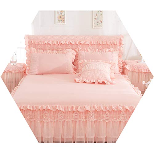 1 PCS Lace Bed Skirt +2PCSs Pillowcases Bedding Set Princess Bedspreads Sheet Girl Cover Flesh 180x220cm 3pcs ()