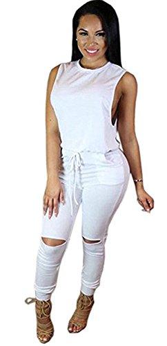 Blansdi Women Sleeveless Knee Hole Drawstring Casual Long Pants Jumpsuits Romper