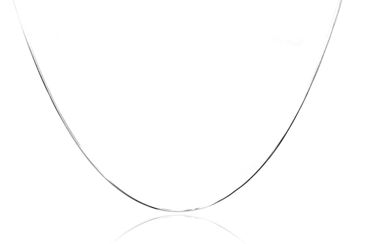 20 Inches, white-gold Chelsea Jewelry Basic Collections Italian Designed 1.2mm Wide 18K White Gold Square Shaped Snake Chain Necklace