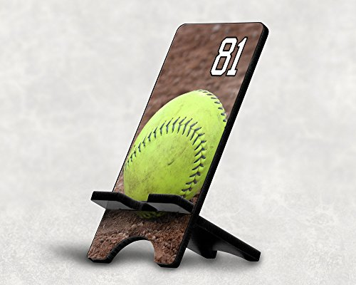 Cell Phone Stand Softball #13900 Personalized Player Jersey Number On A Universal Docking Charging Station Stand Customized by TYD Designs Number 81