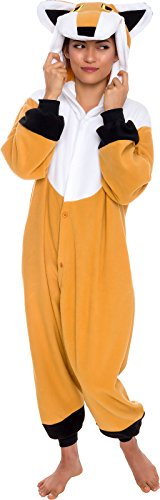 Silver Lilly Unisex Adult Pajamas - Plush One Piece Cosplay Fox Animal Costume (Tan/White, Large) -