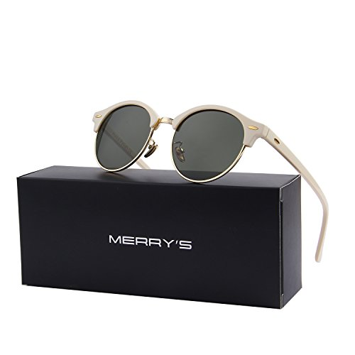 MERRY'S Polarized Sunglasses for Men Women Semi Rimless Retro Brand Sun Glasses S8054 (Beige&Green, - 56 Sunglasses