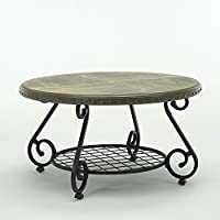 Bestmart Inc Round Antique Coffee Table Vintage Cocktail Table with Storage Shelf for Living Room
