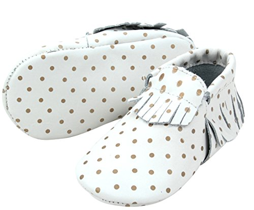 Fashionable Leather Baby Moccasins with Tassels and Gold Dots (6-12 month)