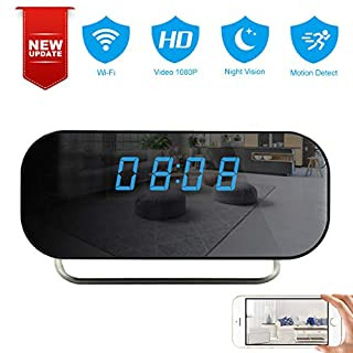 Alarm Clock Camera TTCDBF 1080P WiFi Mini Clock Camera Wireless Hidden Nanny Security Cam with Motion Detection, Night Vision, 150 Angle View, Real-time Record Video