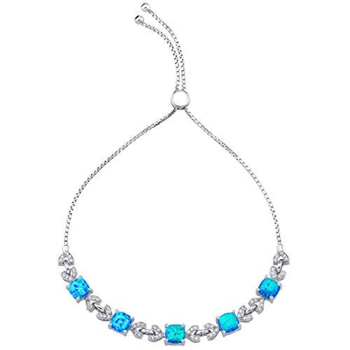 Sterling Silver Created Blue Opal Halo Adjustable Bracelet 2.50 Carats Total