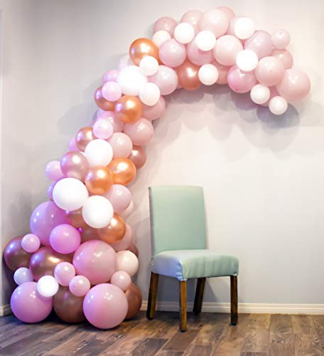 Balloon Arch | Garland Kit with Pump | Pink, White, Rose Gold 100pc Balloons Small to XL |16ft Decorating Strip | Balloon Pump | Glue Dots | Wedding, Anniversary, Baby Shower, Birthday, Parties ()