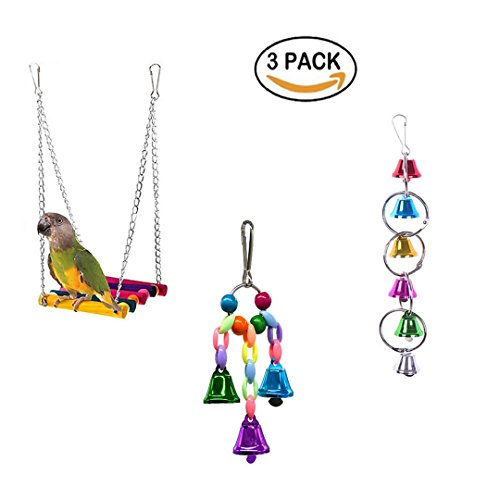 Bird Rope Swing, Bird Toys Hanging Bell, Wooden Budgie Toys Pet Bird Cage Hammock Swing Hanging Toy for Small Parakeets Cockatiels, Conures, Macaws, Parrots, Love Birds, Finches (3 Pack)