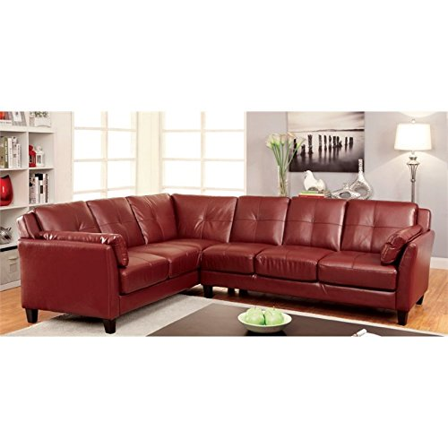 Furniture of America Billie Faux Leather Tufted Sectional in Red