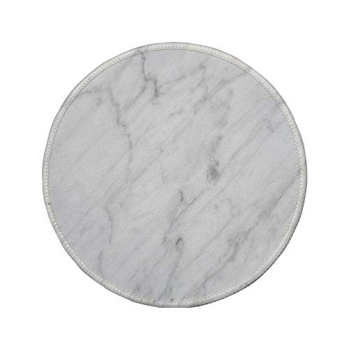 Non-Slip Rubber Round Mouse Pad,Marble,Carrara Marble Tile Surface Organic Sculpture Style Granite Model Modern Design,Dust Grey White,7.87