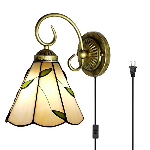 Kiven Tiffany Wall lamp E26 1-Light Plug-in Bulb not Included Wall Sconce Glass Shade 6 Foot Black Cord(BD0527)