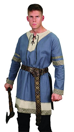 Museum Replicas Viking Noble's Cotton Tunic Medieval Men's Dark Ages Halloween Costume (S/M, Steel (Renaissance Sca Trim)