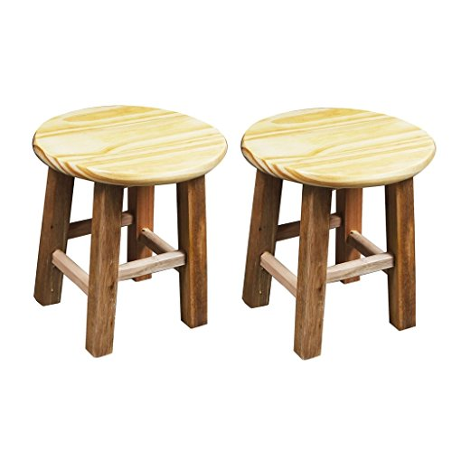 Set of 2 Small Bench Wooden Small Stool Low Pine Stool Bath