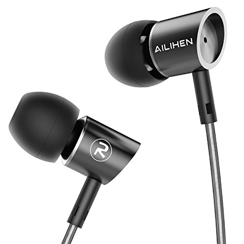 AILIHEN Metal Earbuds with Microphone in Ear Headphones Wired Earphones for Android/iOS Cell Phones iPad iPod Laptop Tablet Computer