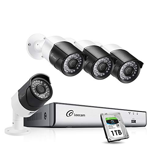 150' Night Vision - Loocam H.265+ 5MP 2K Security Camera System, 8 Channel DVR w/1TB & 4 x 5.0MP 150ft Night Vision Outdoor Indoor Weatherproof Video Surveillance Bullet Camera Free Loocam App& Easy PC Remote Access