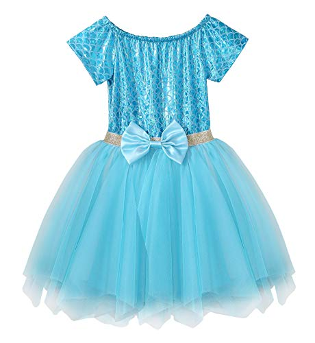 Fiream Soft and Comfortable Well-Made Mermaid Short Sleeve Princess Tulle Dress(JP015,3-4Y) -