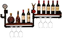 Estantería de vino Almacenamiento de madera champán pared portavasos copa de vino botella de vino estante de la pared estante Estantes de cocina doble 120x20x50cm