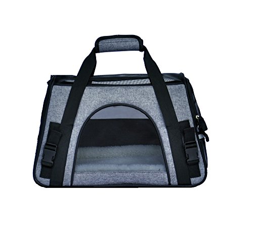 (Miyha Pets Travel Carriers Bag Soft-Sided Pet Portable Bag Airline Approved Cat Carrier and Dog Carrier, Linen Bag, Underneath Airplane Seat (Grey))