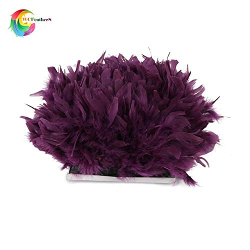 (Pukido 2yards Dyed Leather Pink Turkey Feather Fringe Trim 6-8inches chandelle Marabou Feather Trimming Skirt Dress Trims - (Color: Purple))