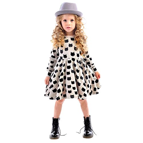 Chinatera Little Girls' Cute Long Sleeve Cat Dotted Cotton Princess Tutu Dress (100:95-105cm for 3-4Y)