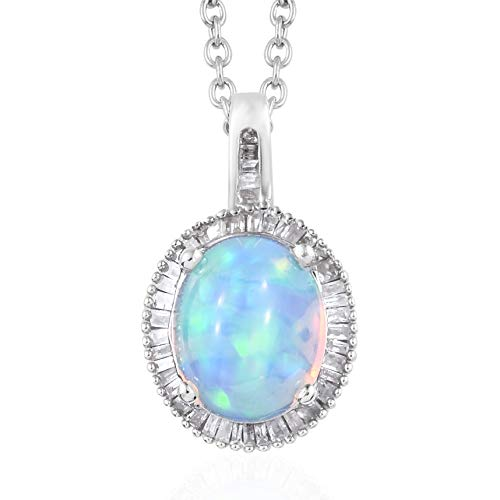 """Welo Opal Diamond Pendant Necklace 20"""" in Platinum Over 925 Sterling Silver Ct 0.3"""
