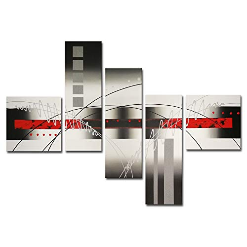 Wieco Art Extra Large Size 5 Piece Perfect White Lines Modern Stretched and Framed Artwork 100% Hand-Painted Abstract Oil Paintings on Canvas Wall Art 5pcs/set