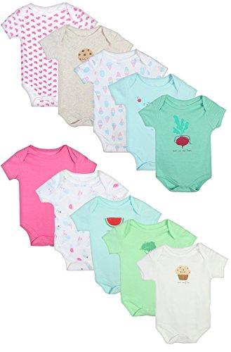 Rene Rofe Baby Girl\'s and Boys Short Sleeve Bodysuits (10 Pack) (Muffin/Ice Cream, 0-3 (Onesies Package)