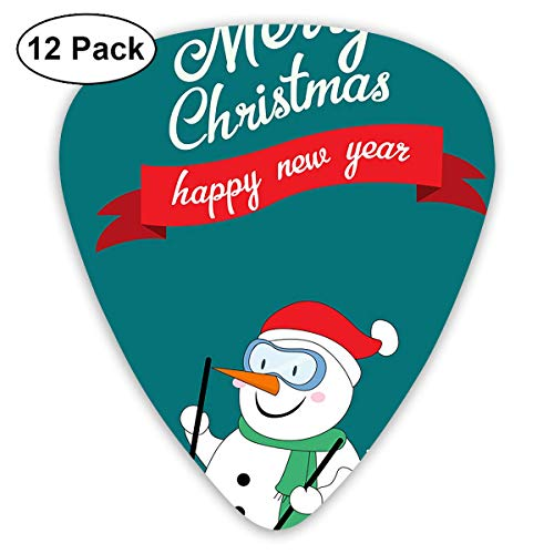 Snowman Skiing Guitar Picks, 12 Pack Unique Designs Stylish Colorful Guitar Picks for Bass, Electric and Acoustic Guitars