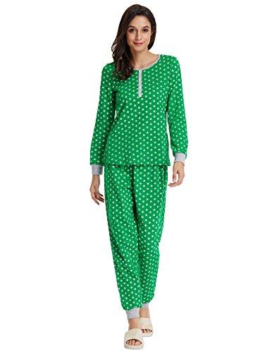 Christmas Pajamas Sets For Women Crew Neck Tops and Pants Sleepwear Green XL ZE102-3 (Pjs Christmas Ladies)