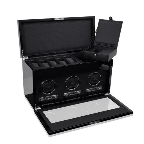 WOLF 454770 Savoy Triple Watch Winder with Cover and Storage, Black by WOLF (Image #1)