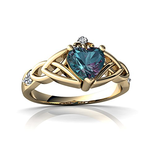 14kt Yellow Gold Lab Alexandrite and Diamond 6mm Heart Claddagh Trinity Knot Ring - Size ()