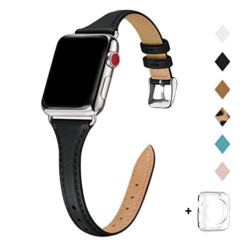 Bestig Leather Band Compatible for Apple Watch 38mm 40mm 42mm 44mm, Slim Thin Genuine Leather Replacement Strap for iWatch Series 5/4/3/2/1 (Black Band+Silver Adapter, 42mm 44mm)