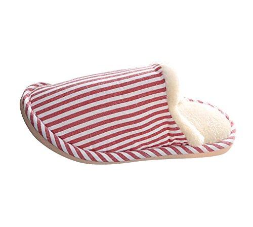 Gestreifte Herren Hausschuhe Rot Plüsch Winter Plüschschuhe Pantoffeln Plüsch Damen Wärme Weiche Hausschuhe Für 1x0wYRqvT