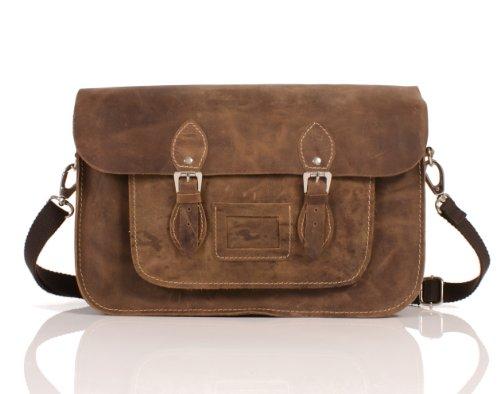 """15""""marrón Hunter piel funda de piel Oxbridge Satchel–Cierre magnético–Classic Retro Moda portátil/bolso de escuela"""