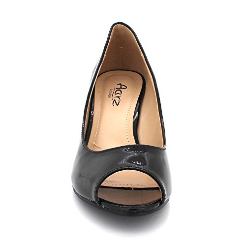 Womens LONDON Shiny Ladies Wedge Heel AARZ On Shoes Party Casual Evening Peeptoe Sandal Comfort Slip Black Size wq5IRxdR