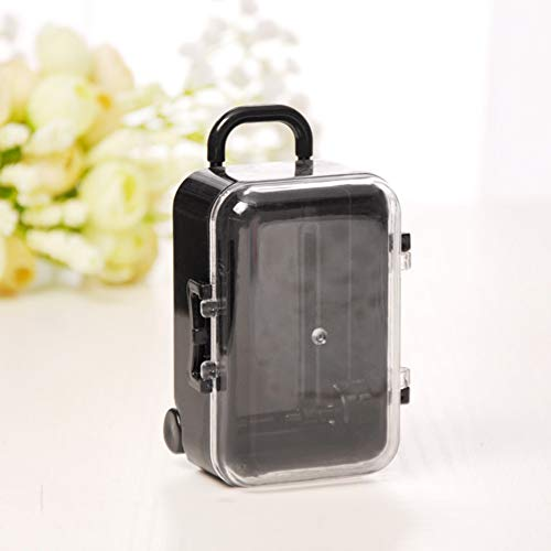 AkoMatial Plastic Candy Gift Box Mini Rolling Travel Suitcase Shape Candy Box Wedding Favors Party Reception Black