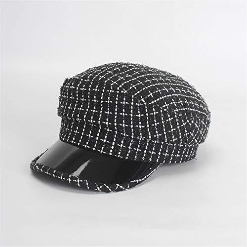 Women Winter Hat Fashion Plaid Newsboy Caps Patchwork Visor Caps Patent Leather Brim Octagonal Hat Tweed Berets Black 56-58cm