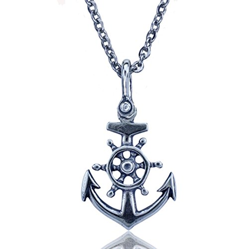 KeyLimeBay Anchor and Ships Wheel Nautical Pendant Crafted in Sterling Silver on an 18 Inch Link Necklace Chain ()