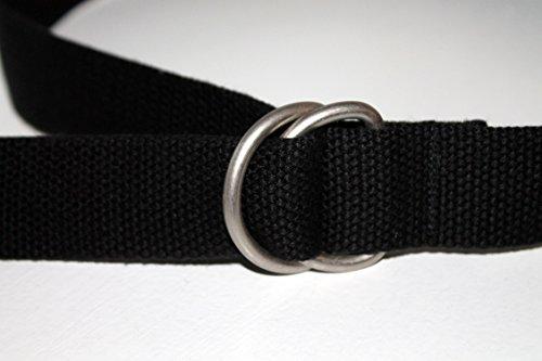 Mens Web Belt Black Belt Ladies D Ring or Slide Buckle 1.25