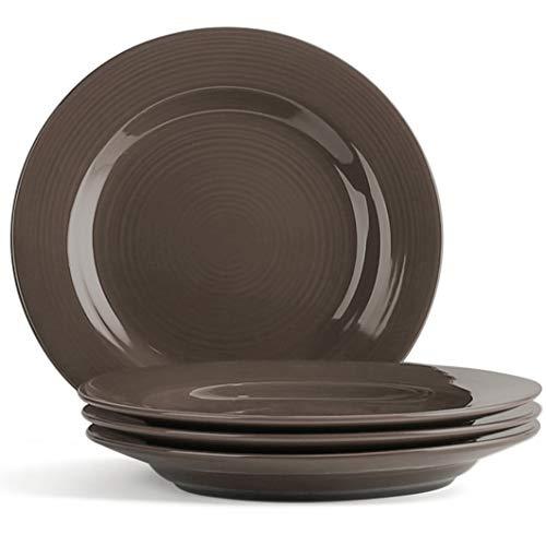 LE TAUCI Ceramic Salad Plate Set - 8 Inch Appetizer Plates for Salad, Dessert, Set of 4, Iron Brown