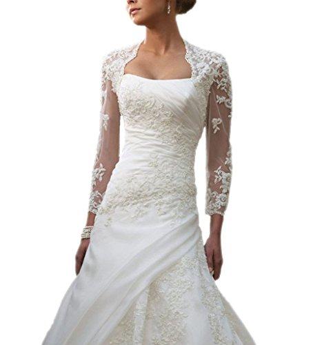 Snowskite Women's Long Sleeves Lace Wedding Bolero Jacket White 26