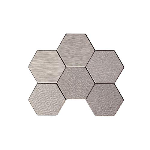 Aspect Peel and Stick Backsplash 12inx4in Honeycomb Stainless Matted Metal Tile Sample for Kitchen and Bathrooms - Metal Backsplashes Tile