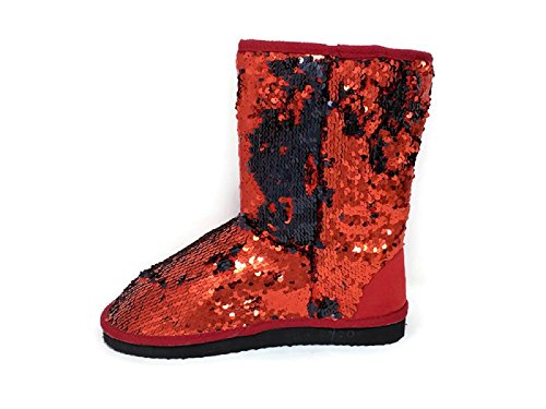 Sequin Mid Winter Red Calf Ameta Dual Shaded Black Shoes Womens Color Booties Sparkles Boots vqwBAzI
